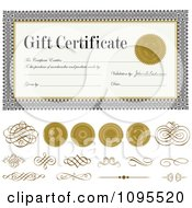Clipart Gold Seals And Swirls With A Gift Certificate Template Royalty Free Vector Illustration