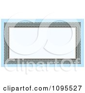 Clipart Ornate Long Frame With Copyspace On Blue Royalty Free Vector Illustration