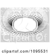 Clipart White Burst Frame Over A Distressed Grungy Floral Pattern Royalty Free Vector Illustration