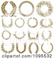 Clipart Ornate Bronze Laurel Wreaths Royalty Free Vector Illustration by BestVector