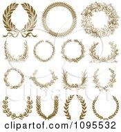 Clipart Ornate Bronze Laurel Wreaths Royalty Free Vector Illustration by BestVector
