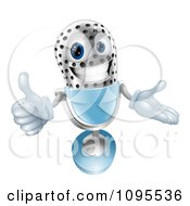 Clipart 3d Silver And Blue Microphone Holding A Thumb Up Royalty Free Vector Illustration