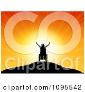Clipart Silhouetted Person In A Wheelchair On A Hilltop Holding Their Arms Up Against The Sunset Royalty Free Vector Illustration