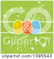 Retro Green Polka Dot Easter Egg Background With Flourishes And Butterflies
