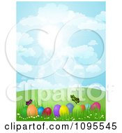 Clipart Butterflies Over Easter Eggs In A Hilly Spring Landscape Under A Blue Sunny Sky Royalty Free Vector Illustration
