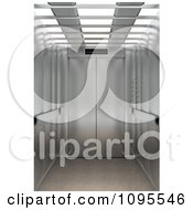 Clipart 3d Shiny Chrome Elevator With Bright Lights Royalty Free CGI Illustration