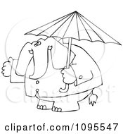 Outlined Elephant In A Rain Coat Under An Umbrella