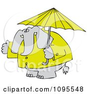Clipart Elephant In A Rain Coat Under An Umbrella Royalty Free Vector Illustration