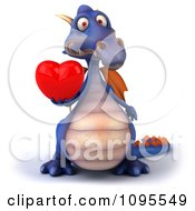3d Purple Dragon Holding Out A Heart 1