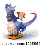 Clipart 3d Purple Dragon Balancing On A Weight Scale 2 Royalty Free CGI Illustration