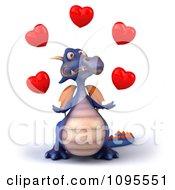 3d Purple Dragon Juggling Hearts 1