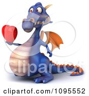 3d Purple Dragon Holding Out A Heart 2