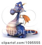 3d Purple Dragon Holding A Laptop 2