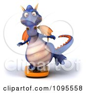 3d Purple Dragon Balancing On A Weight Scale 1