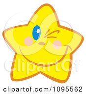 Clipart Yellow Star Winking Royalty Free Vector Illustration