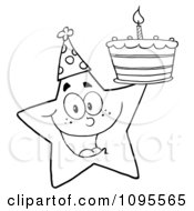 Clipart Outlined Star Holding Up A Birthday Cake Royalty Free Vector Illustration by Hit Toon