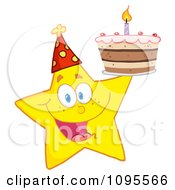 Clipart Yellow Star Holding Up A Birthday Cake Royalty Free Vector Illustration by Hit Toon