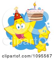 Clipart Happy Yellow Stars With A Birthday Cake Over Blue Splatters Royalty Free Vector Illustration