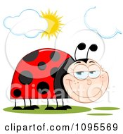 Clipart Happy Ladybug In The Sunshine Royalty Free Vector Illustration