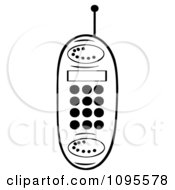Clipart Black And White Cell Phone Royalty Free Vector Illustration by Hit Toon