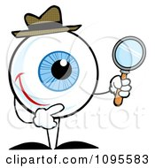 Clipart Blue Eyeball Character Detective Holding A Magnifying Glass Royalty Free Vector Illustration