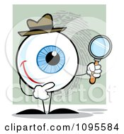 Clipart Blue Eye Character Detective Holding A Magnifying Glass Royalty Free Vector Illustration by Hit Toon
