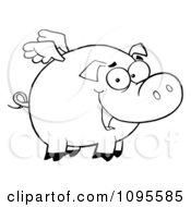 Clipart Outlined Winged Pig Smiling And Flying Royalty Free Vector Illustration