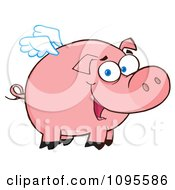 Clipart Winged Pig Smiling And Flying Royalty Free Vector Illustration by Hit Toon