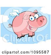 Clipart Winged Pig Smiling And Flying In The Sky Royalty Free Vector Illustration