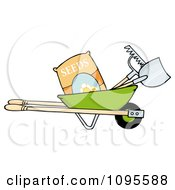 Clipart Green Wheelbarrow With Garden Tools And Seeds Royalty Free Vector Illustration by Hit Toon