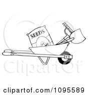 Clipart Outlined Wheelbarrow With Garden Tools And Seeds Royalty Free Vector Illustration by Hit Toon