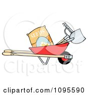 Red Wheelbarrow With Garden Tools And Seeds