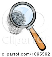 Clipart Magnifying Glass Zooming In On A Fingerprint Royalty Free Vector Illustration