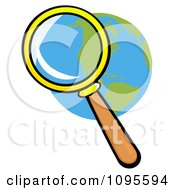 Clipart Magnifying Glass Zooming In On A Globe Royalty Free Vector Illustration