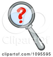 Clipart Magnifying Glass Zooming In Over A Question Mark Royalty Free Vector Illustration by Hit Toon