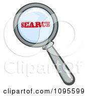 Clipart Magnifying Glass Zooming In On The Word Search Royalty Free Vector Illustration by Hit Toon