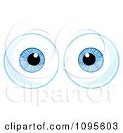 Clipart Pair Of Blue Eyeballs Looking Forward Royalty Free Vector Illustration