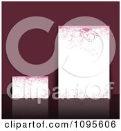 Clipart Grungy Pink Floral Letter And Card Templates Over Purple With A Reflection Royalty Free Vector Illustration