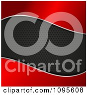 Clipart Black Perforated Metal Wave Through Red Royalty Free Vector Illustration