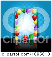 Clipart Balloon Burst Party Flyer Over Blue Halftone With A Reflection On Black Royalty Free Vector Illustration