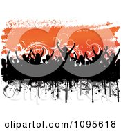 Clipart Black Silhouetted Crowd And Grunge Over Orange And Floral Vines On White Royalty Free Vector Illustration