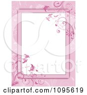 Pink Floral Frame With White Copyspace