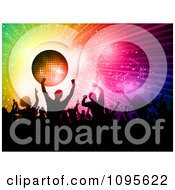 Clipart Crowded Silhouetted Dance Floor With People Under A Disco Ball With Rainbow Rays And Music Notes Royalty Free Vector Illustration by KJ Pargeter