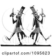 Clipart Dueling Men Pacing Away From Each Other Black And White Woodcut Royalty Free Vector Illustration