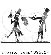 Clipart Dueling Man Pacing Away From An Opponent With A Prank Gun Black And White Woodcut Royalty Free Vector Illustration by xunantunich