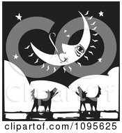 Silhouetted Dogs Barking Under A Crescent Moon Black And White Woodcut