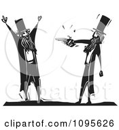Clipart Man Being Mugged By Another With A Pistol Black And White Woodcut Royalty Free Vector Illustration