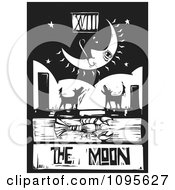 Clipart Crawdad Barking Dogs And Crescent Moon Tarot Card Black And White Woodcut Royalty Free Vector Illustration by xunantunich