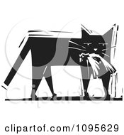 Clipart Cat Carrying A Dead Bird In Its Mouth Black And White Woodcut Royalty Free Vector Illustration by xunantunich