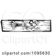 Clipart Crawdad Black And White Woodcut Royalty Free Vector Illustration by xunantunich